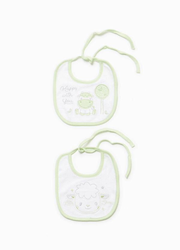Two-pack cotton bibs with animals