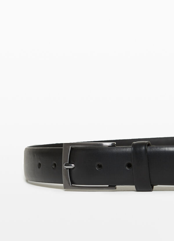 Belt with one loop and rectangular buckle