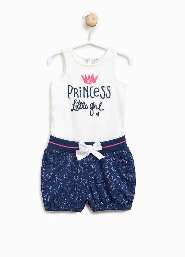 Sleeveless romper suit with star pattern