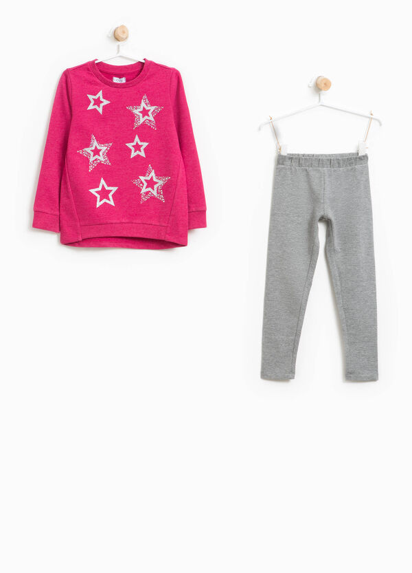 Tracksuit with glitter print and diamantés | OVS