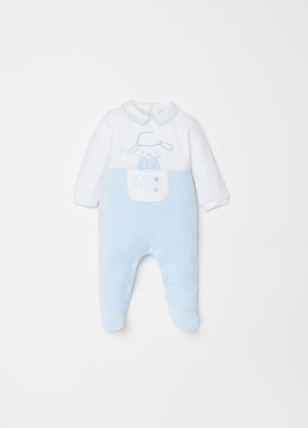 Onesie with feet and sheep embroidery
