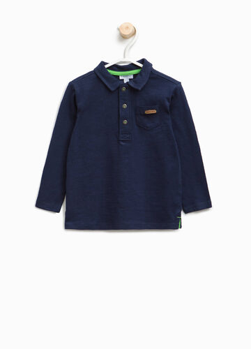 Cotton polo shirt with pocket