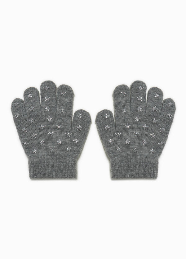 Knitted stretch gloves with glitter stars | OVS