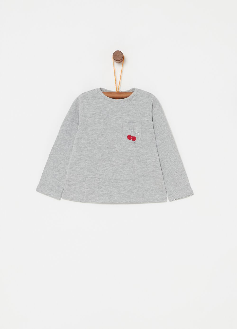 Long-sleeved T-shirt with pocket and embroidery