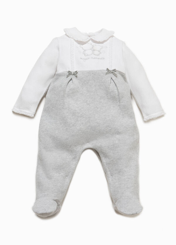Onesie with feet, embroidery and flounce | OVS