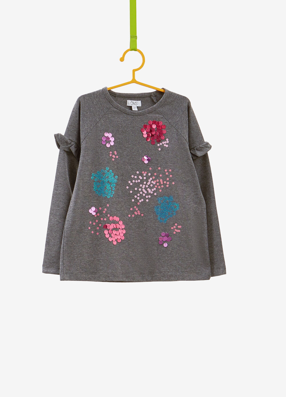 Stretch cotton T-shirt with sequins and ruffles