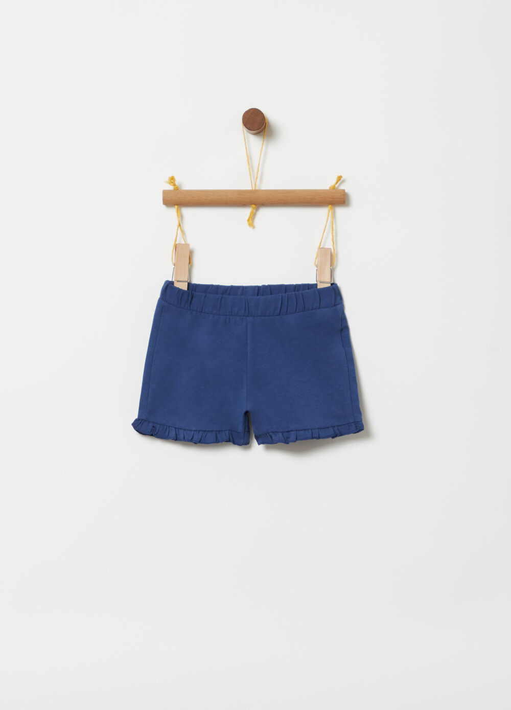 Stretch ribbed shorts with pleated hem