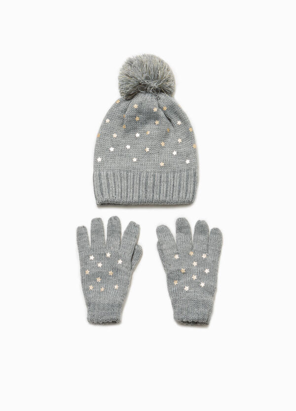 Knitted beanie cap with star gloves | OVS