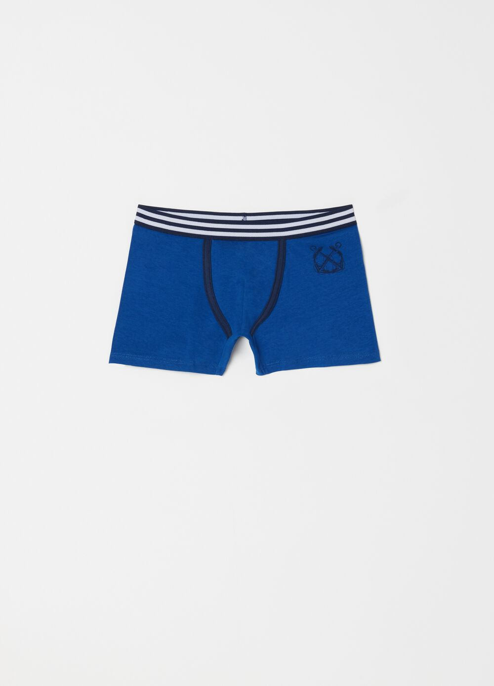 Boxer shorts in stretch biocotton with striped waist