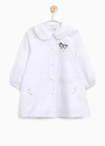 Cotton blend smock with unicorn patches