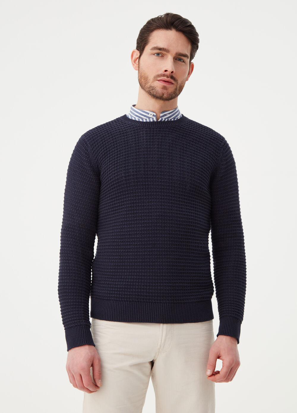 Knitted pullover in 100% cotton with ribbing
