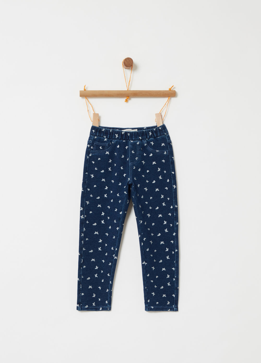 Stretch fleece jeggings with bird pattern