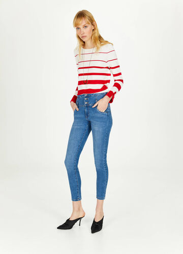 Skinny-fit high-waist jeans with buttons