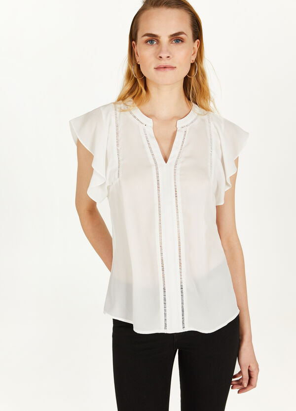 Openwork blouse with flounce