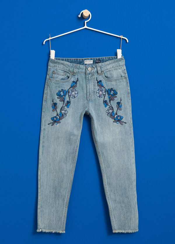 Faded jeans with floral embroidery | OVS