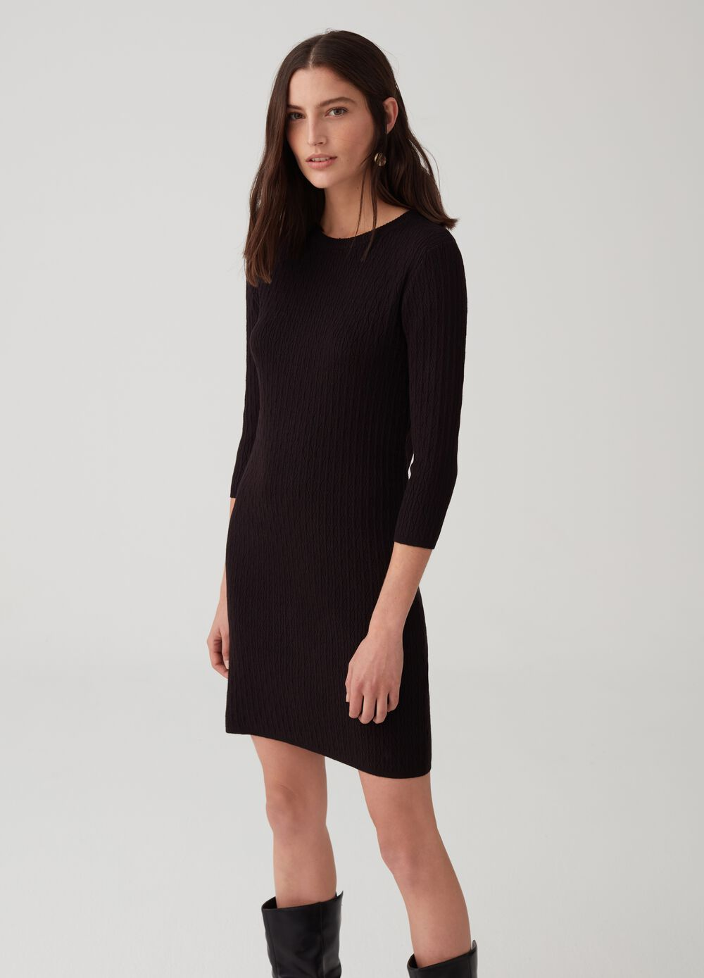Knit dress with geometric weave