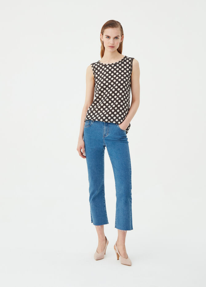 Sleeveless crêpe blouse with cord details