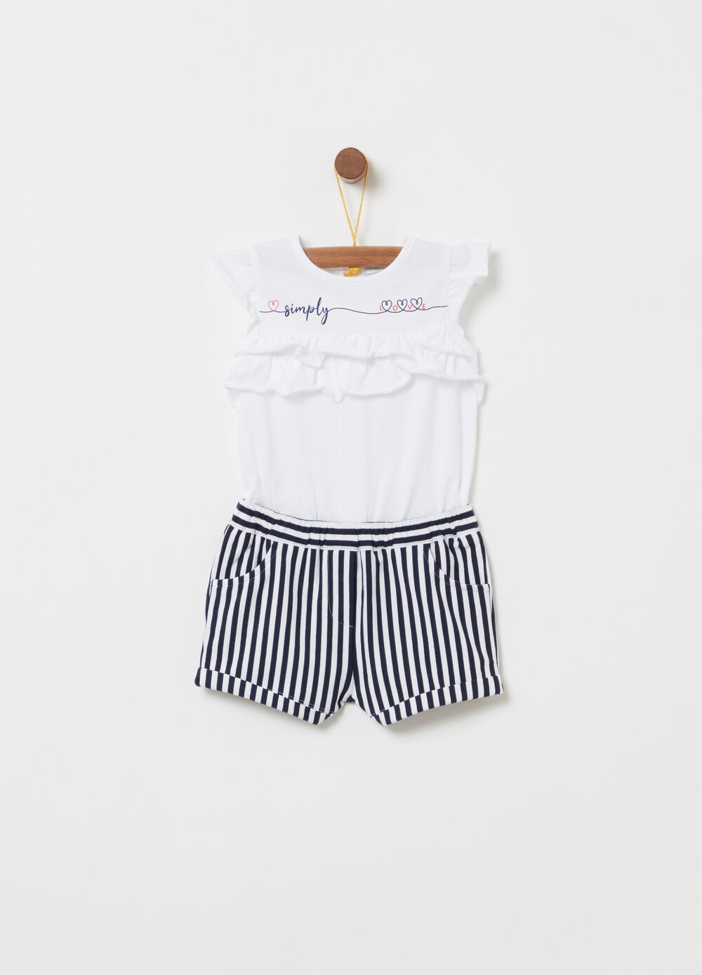 Romper suit with frills, print and stripes