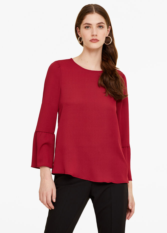 Solid colour blouse with bell sleeves