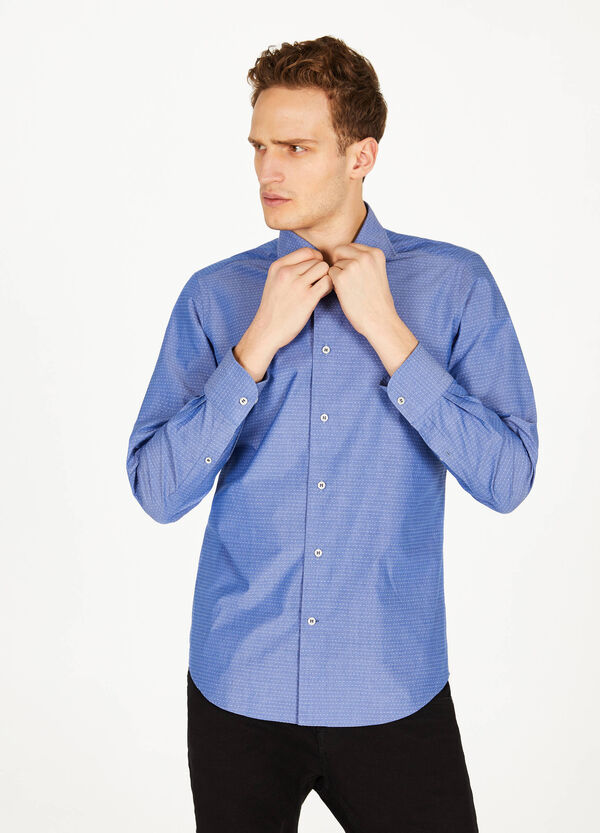 Slim-fit micro-polka dot formal shirt