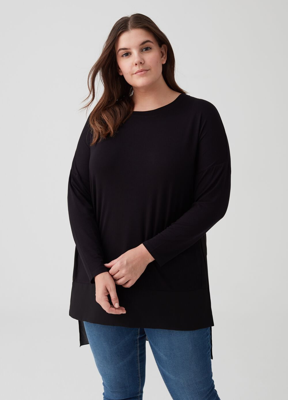 Curvy stretch T-shirt with drop shoulder