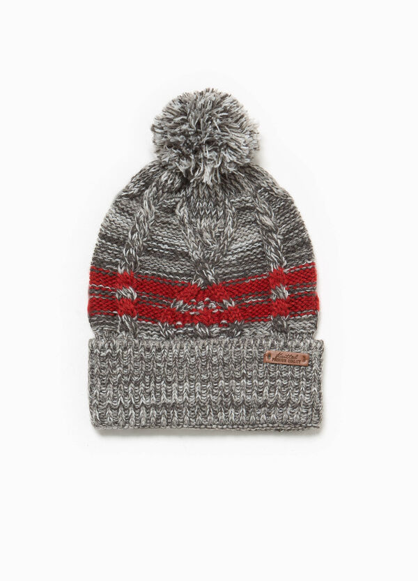 Hat with striped pompom | OVS