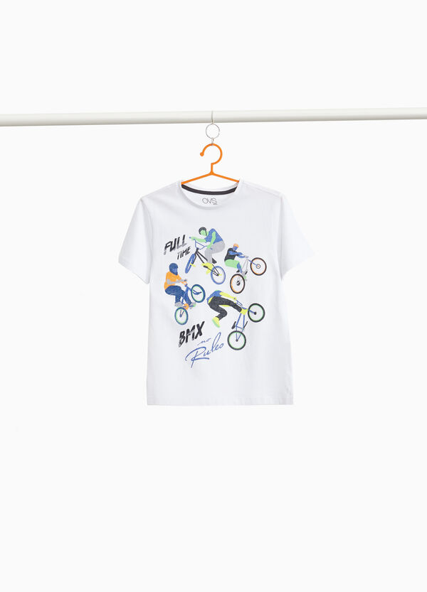 100% cotton T-shirt with cyclists print