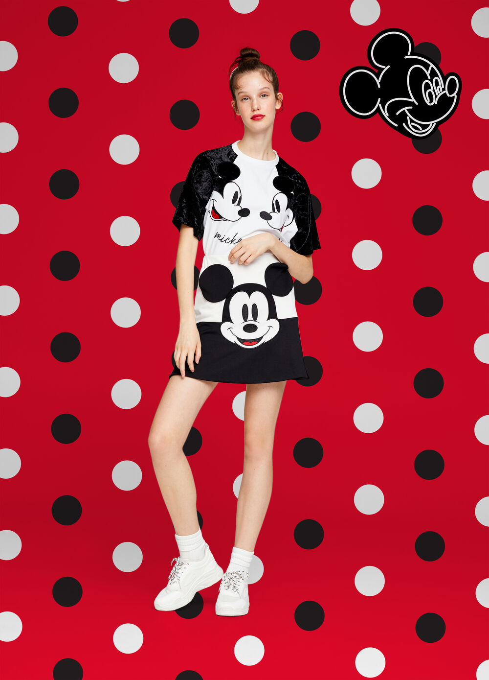 Two-tone Mickey Mouse stretch skirt
