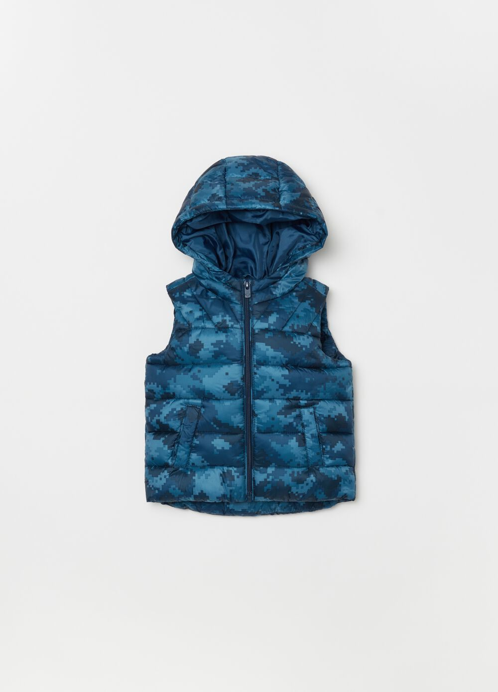 Quilted gilet with patterned hood