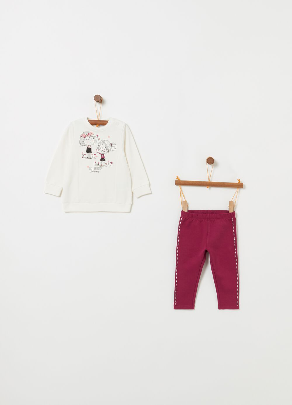 Stretch cotton jogging set with print