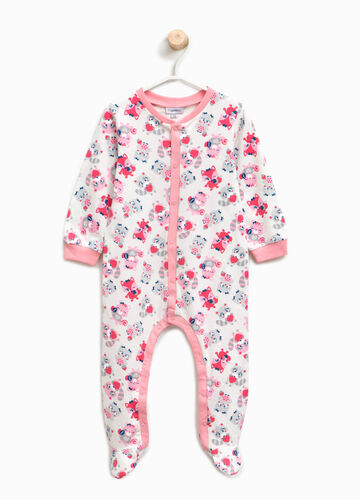 Organic cotton sleepsuit with animals