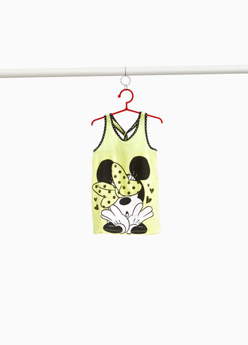 Cotton blend top with polka dots and Minnie Mouse