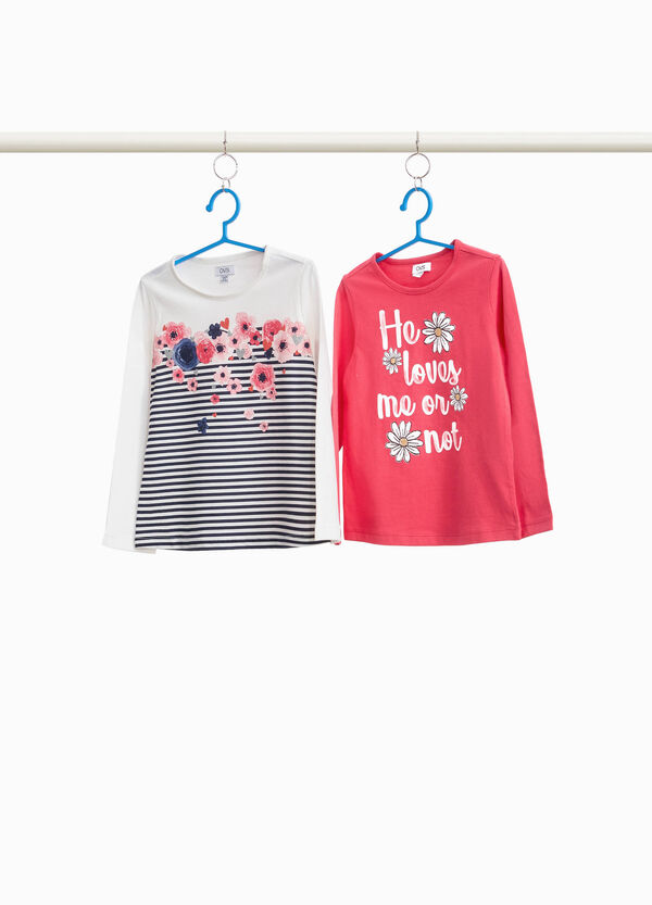Two-pack T-shirts with striped print and lettering