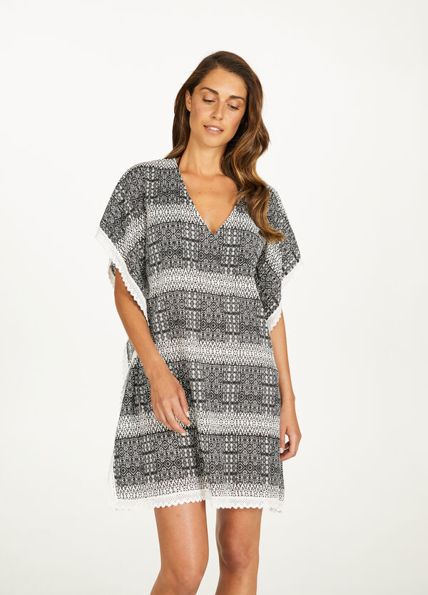 100% cotton patterned beach poncho