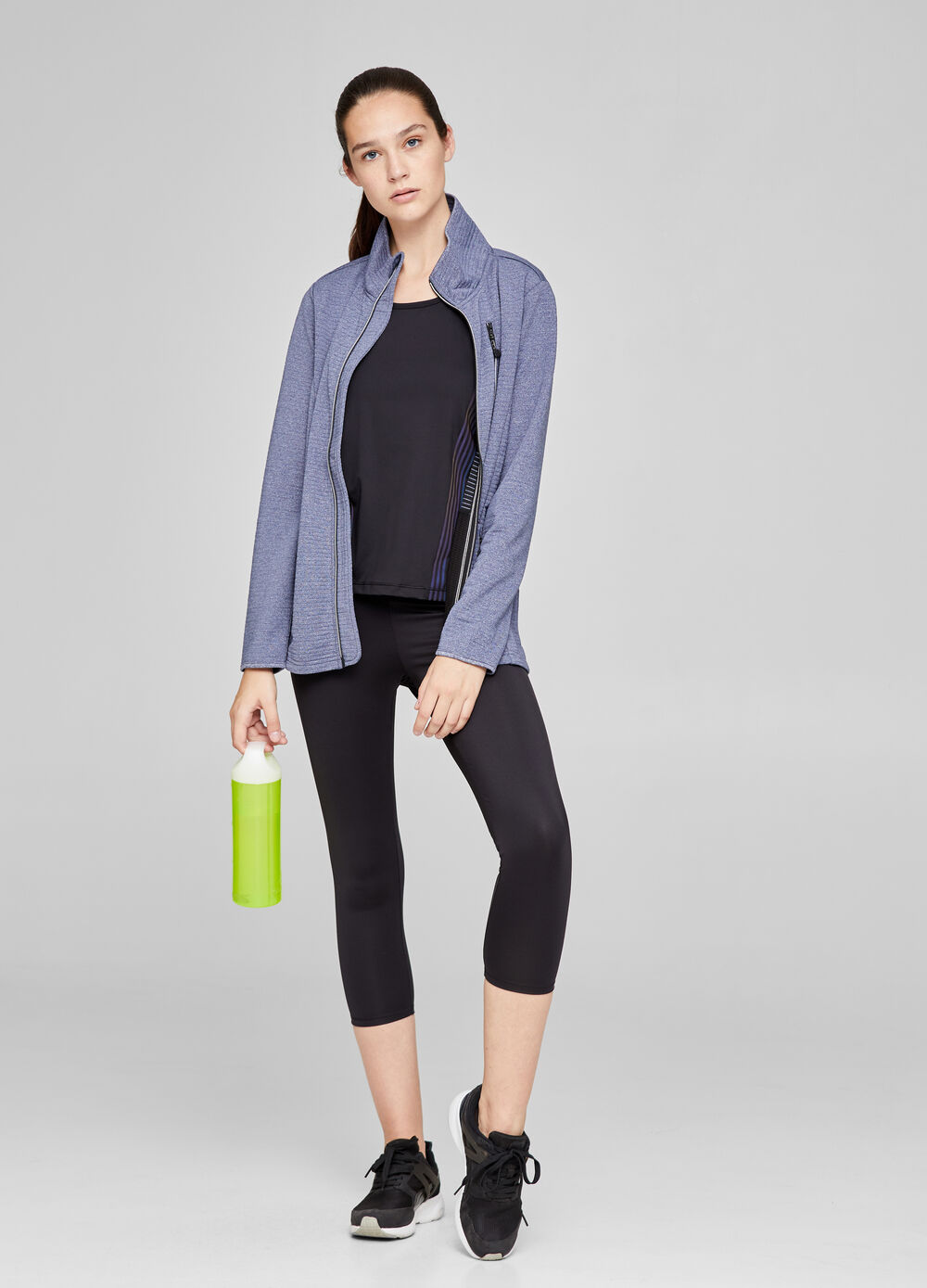 Mélange gym jacket with zip