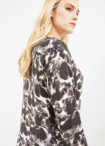 Curvy cardigan with all-over print