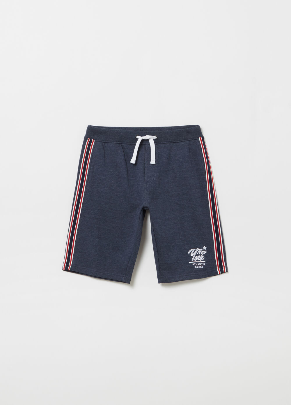 Mélange shorts with pocket, embroidery and drawstring