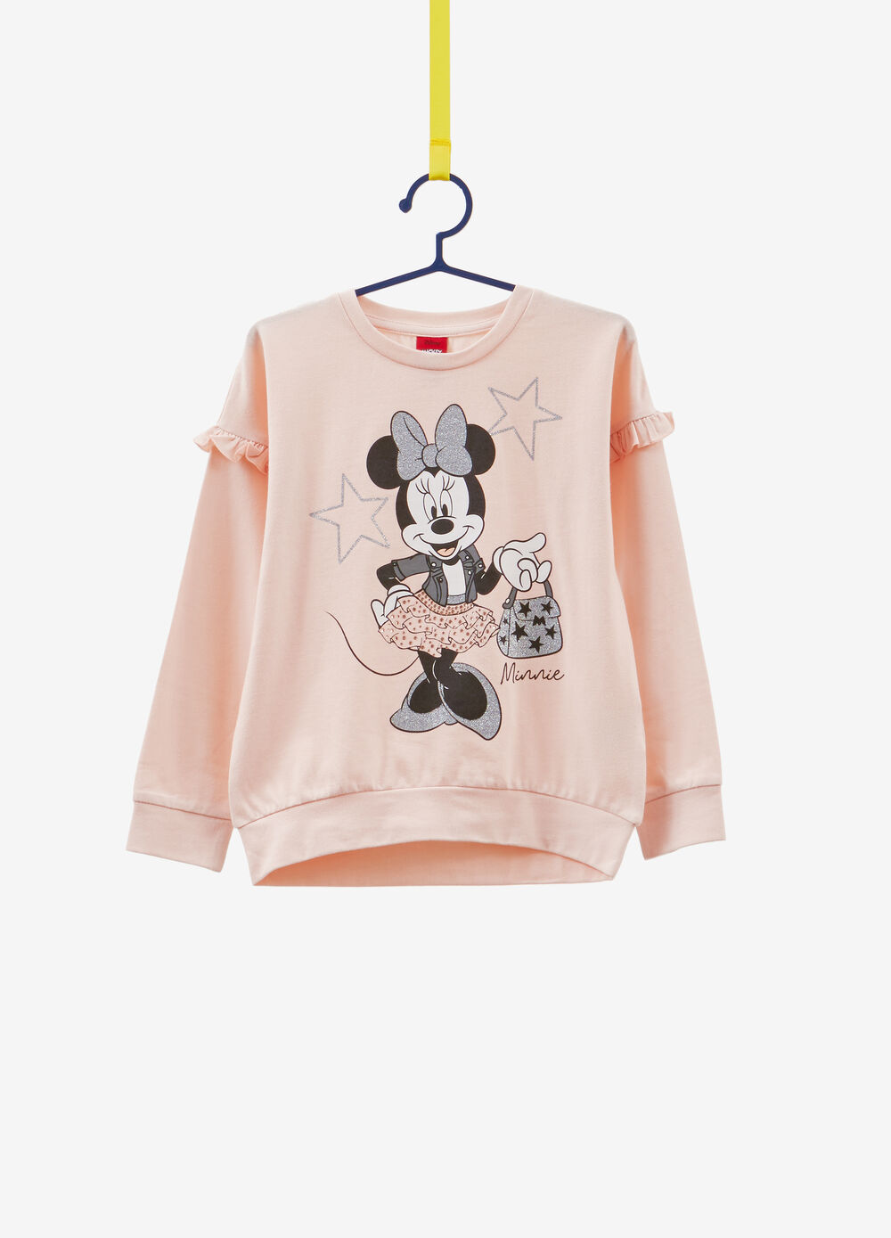 Stretch cotton T-shirt with Minnie Mouse diamantés