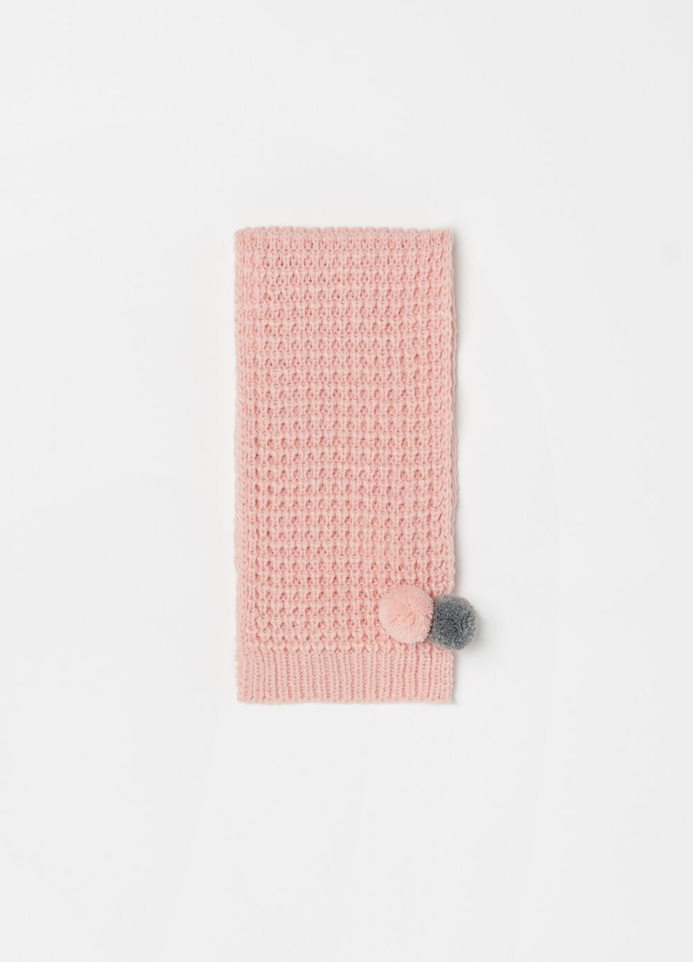 Scarf with lurex and pompoms