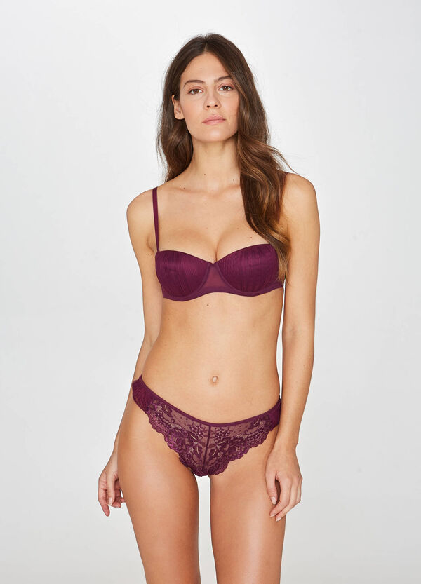 Pleated balconette bra