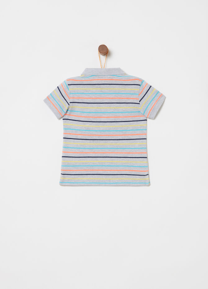 Mélange polo shirt with striped pattern