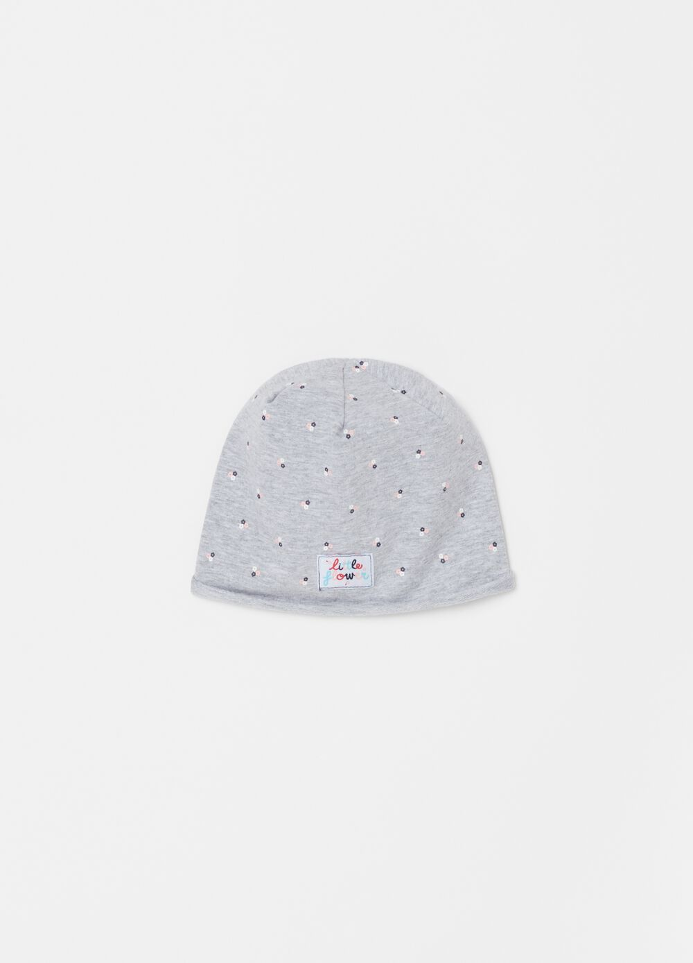 Jersey hat with small flowers
