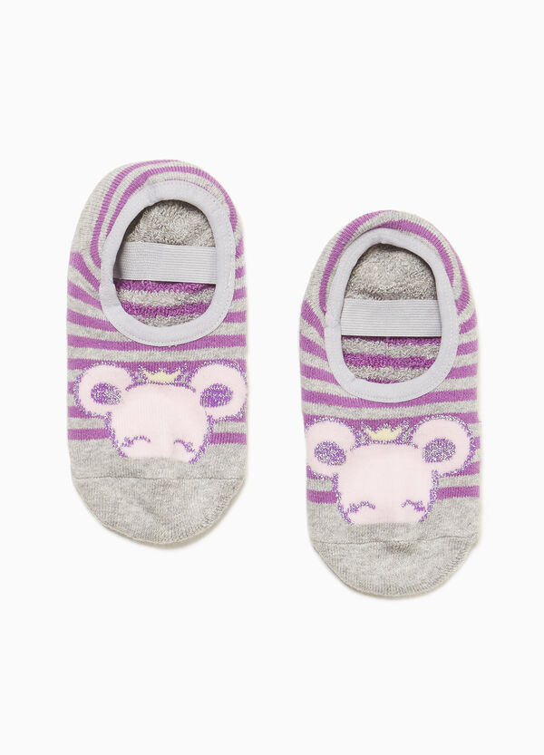 Striped slipper socks with mouse