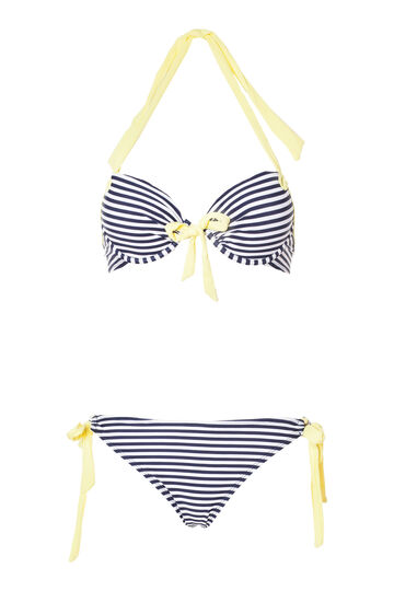 Bikini top and bottoms with ties