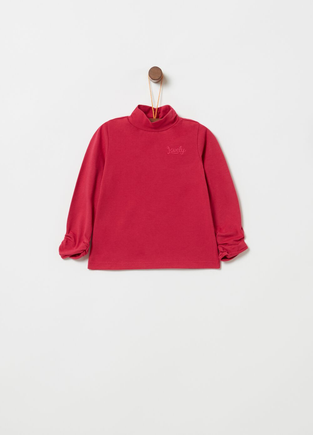 Long-sleeved T-shirt with high neck and embroidery