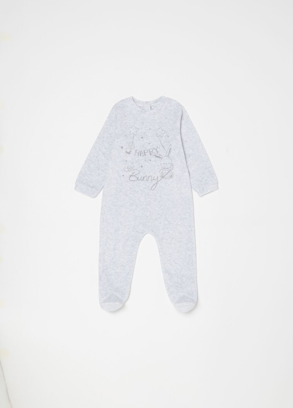Mélange onesie with feet and animals