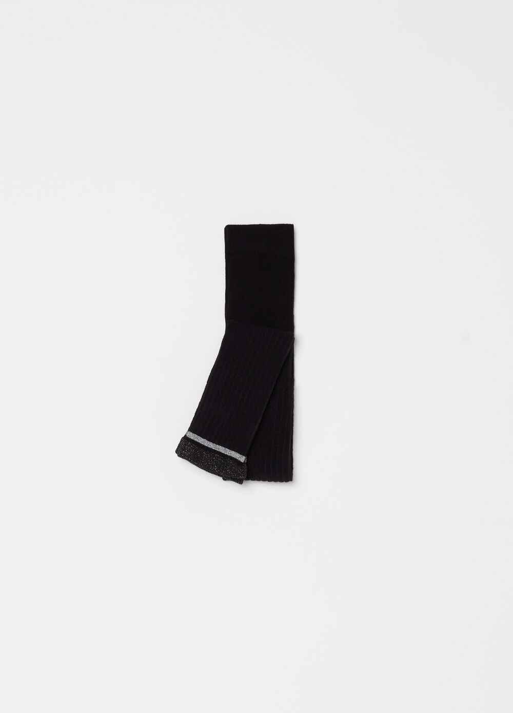 Stretch footless tights with lurex