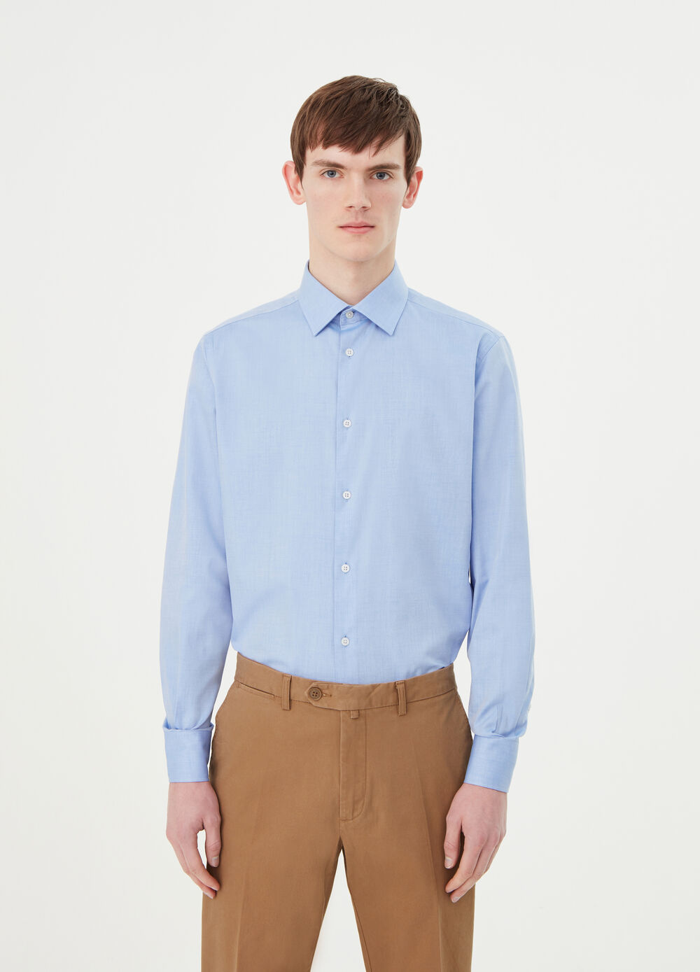 Solid colour twill regular-fit shirt