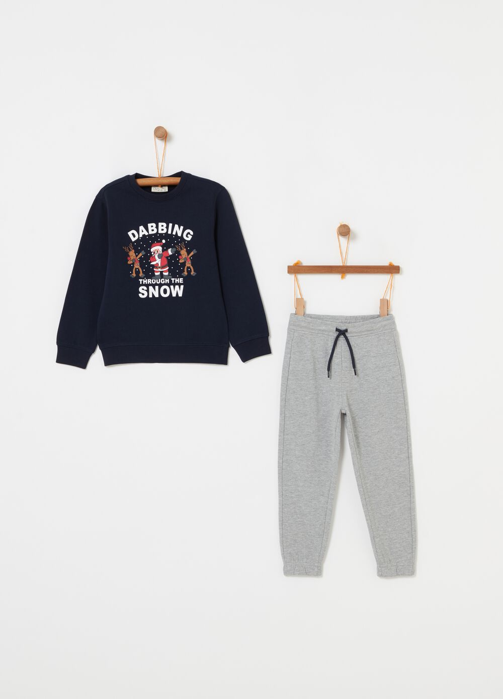 Jogging set with crew-neck top and trousers