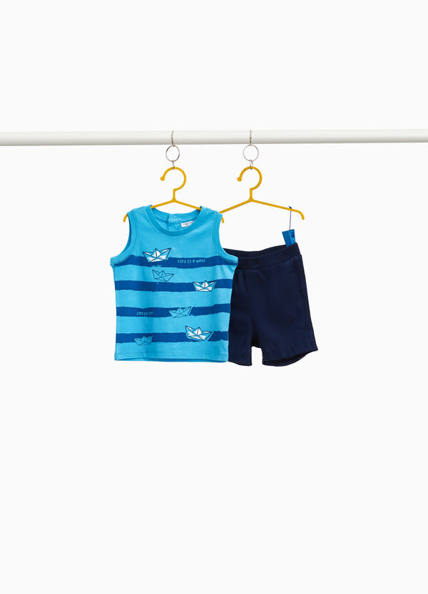 100% cotton outfit with stripes and boats